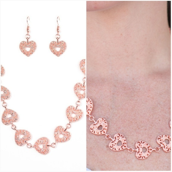 HEARTS HARMONY COPPER NECKLACE/EARRING SET